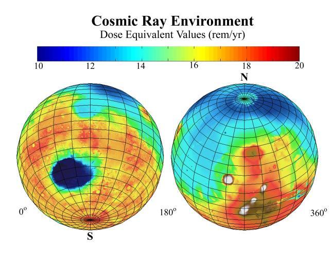 Уровень космической радиации на поверхности Марса